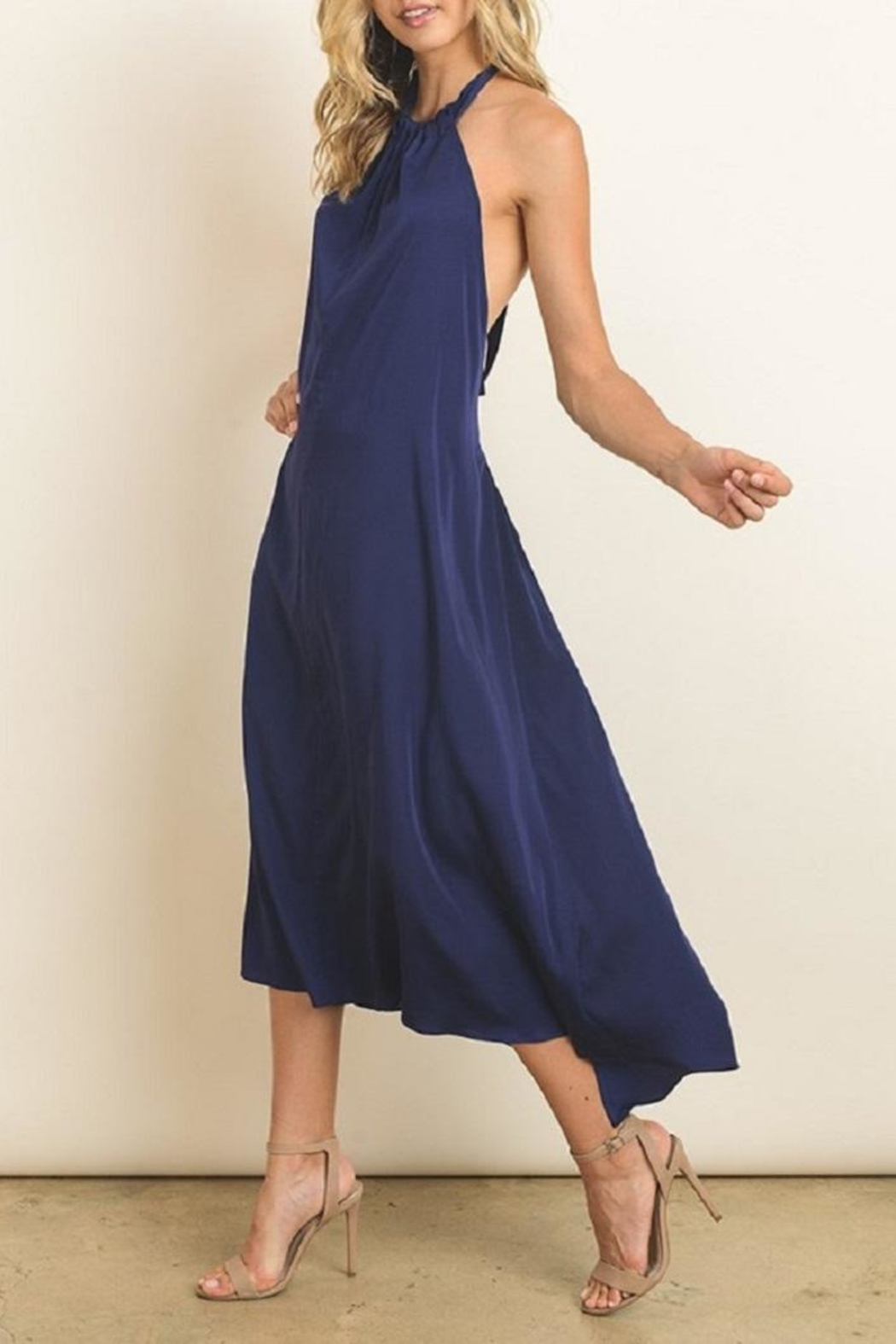 dress forum Navy Halter Dress - Front Full Image