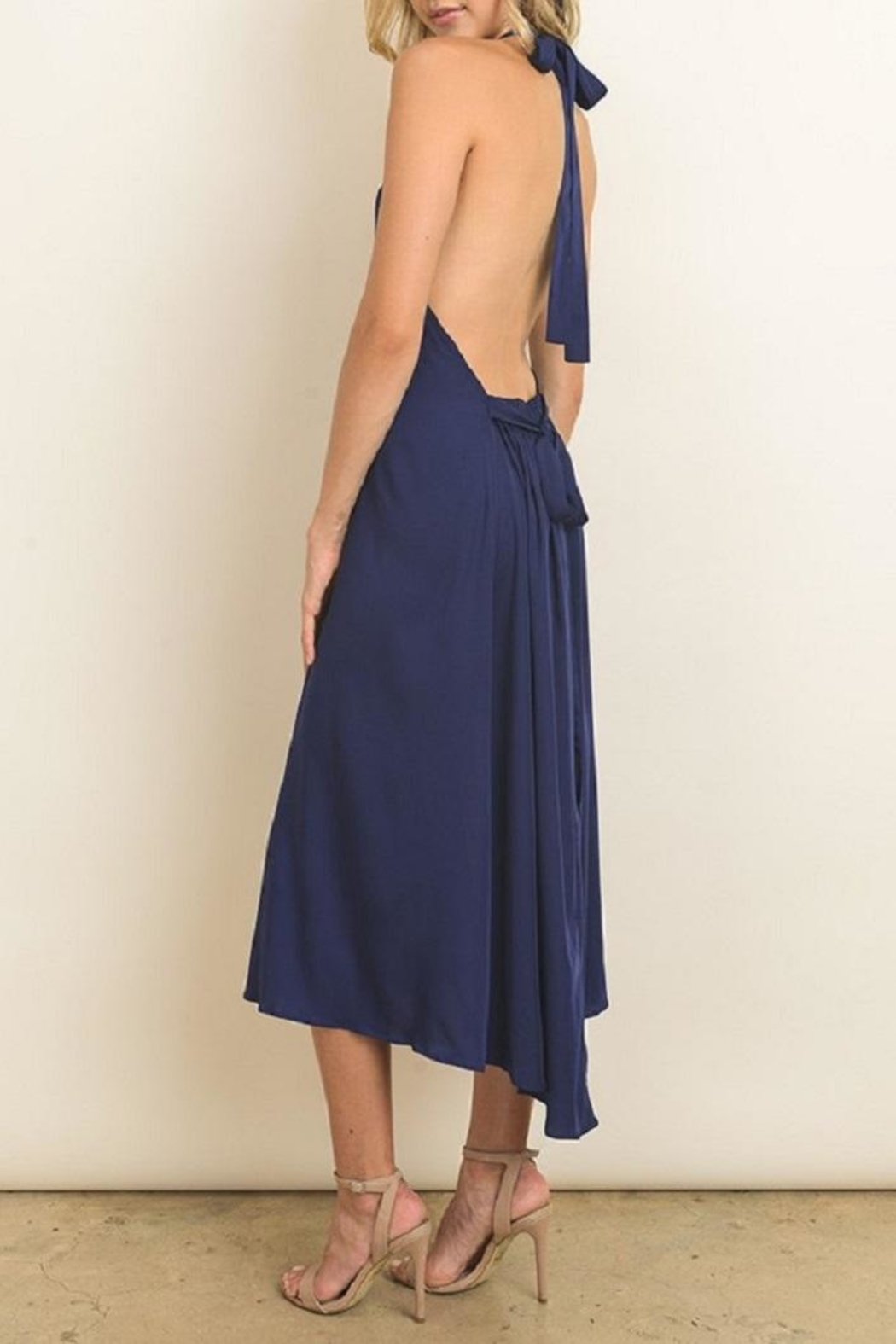 dress forum Navy Halter Dress - Back Cropped Image