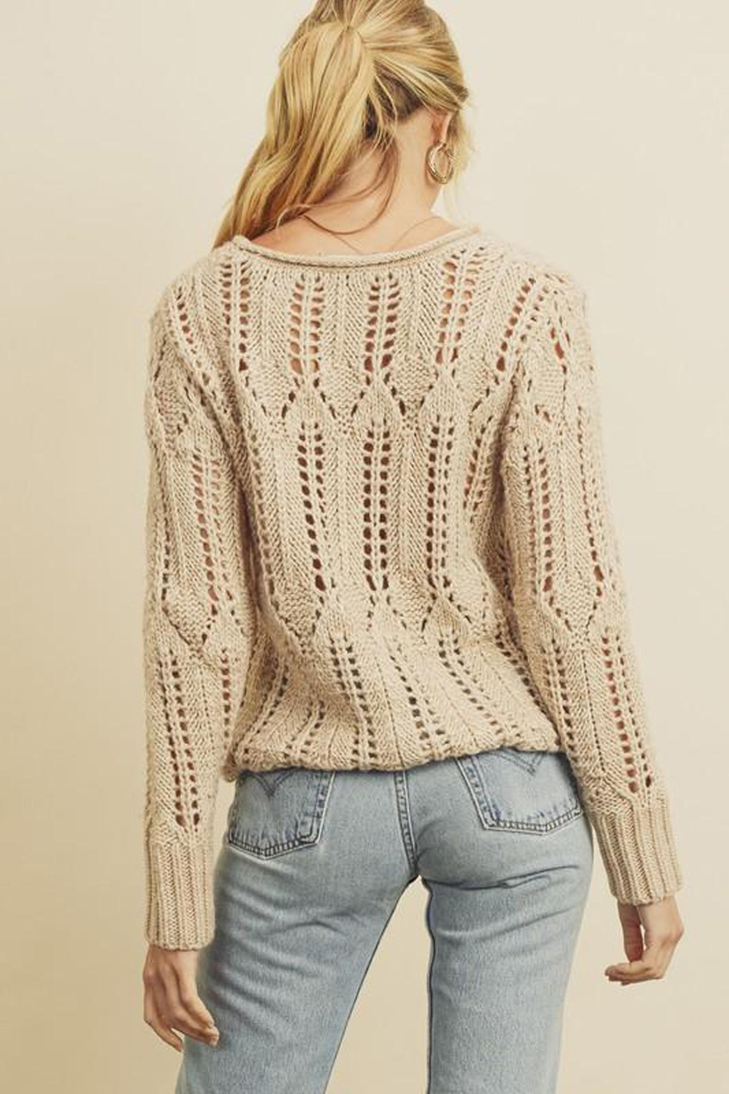 dress forum Open-Knit Pullover Sweater - Back Cropped Image