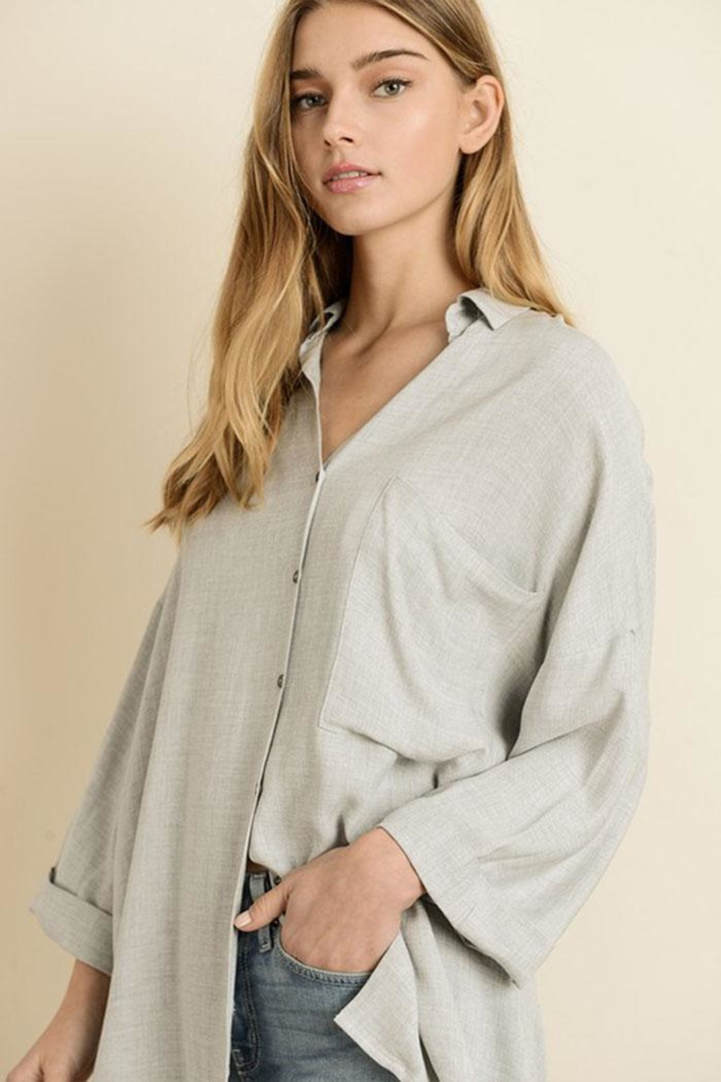 dress forum Oversized Boyfriend Shirt - Back Cropped Image