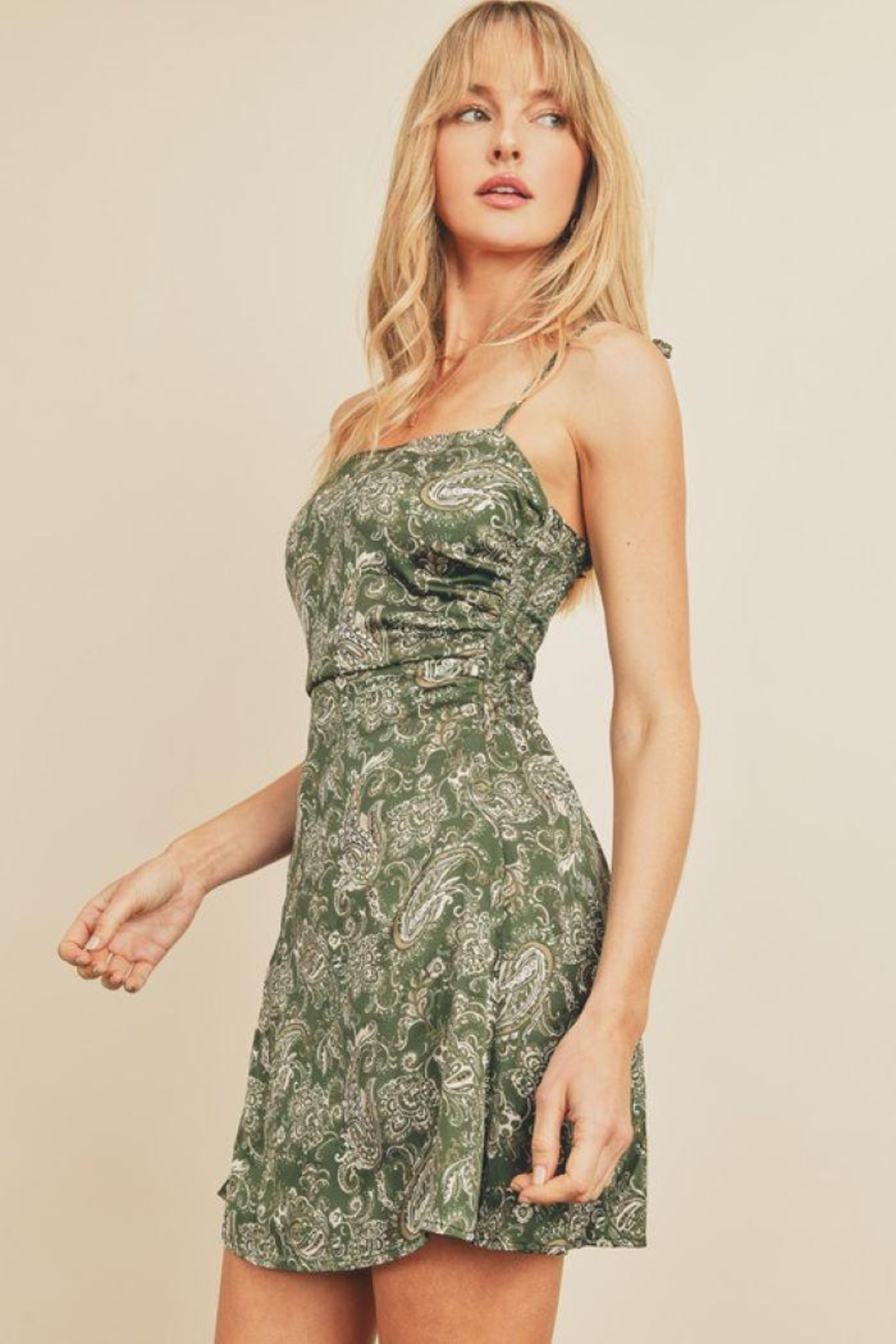 dress forum Paisley Fit & Flare Ruched Mini Dress - Side Cropped Image