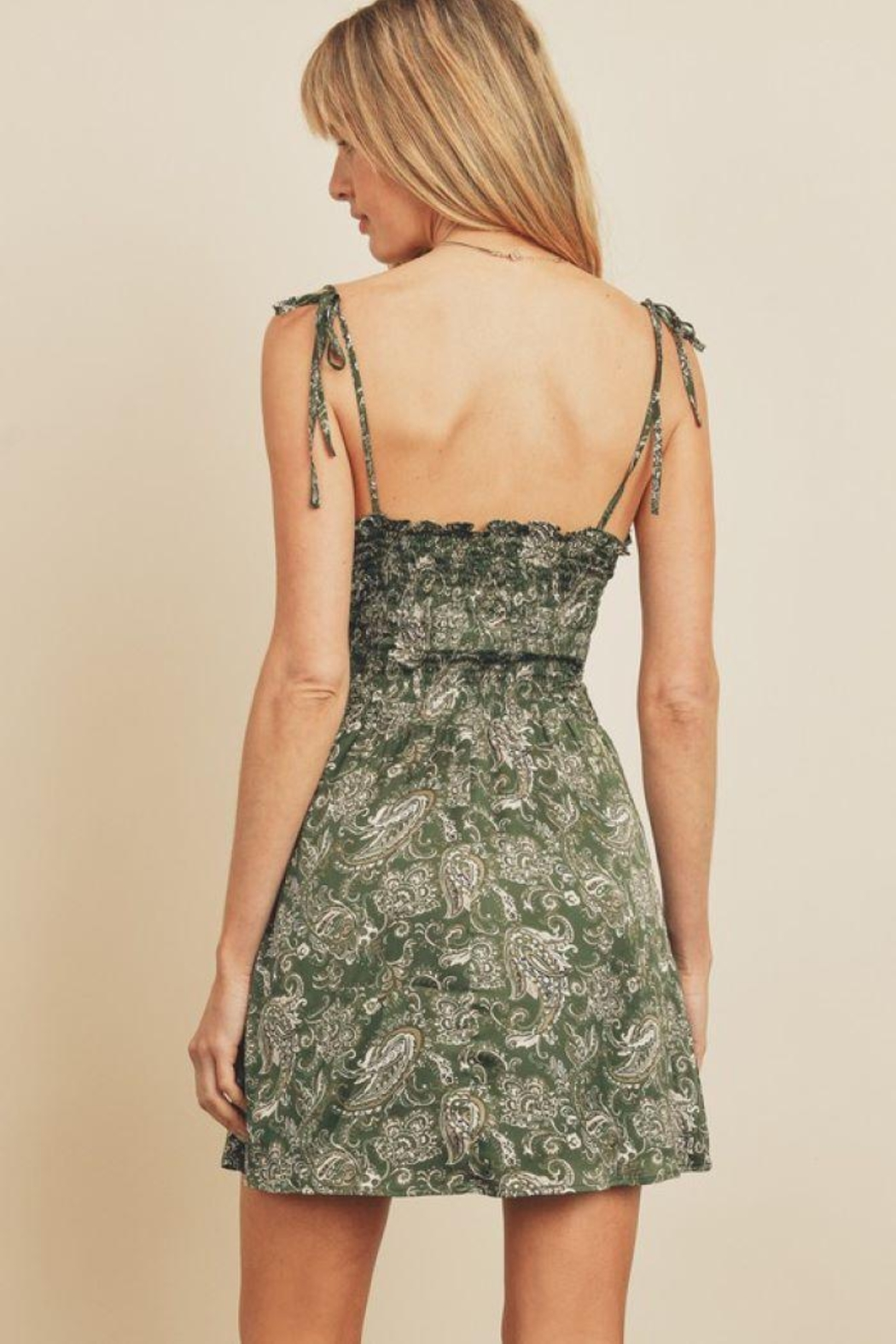 dress forum Paisley Fit & Flare Ruched Mini Dress - Back Cropped Image