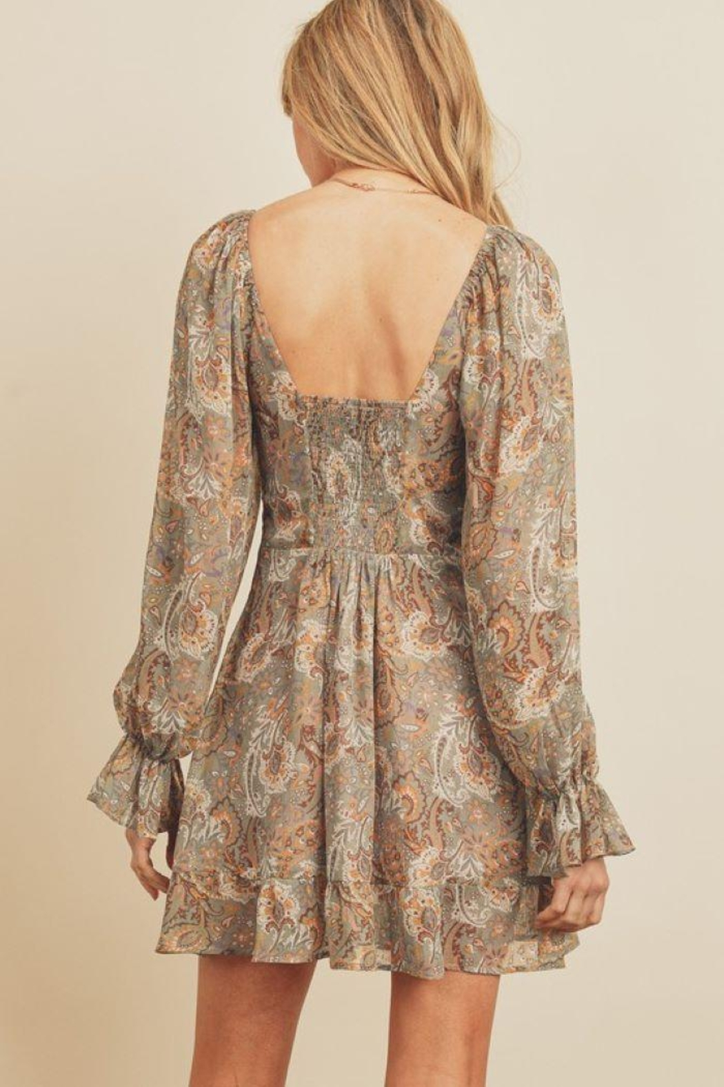dress forum Paisley Floral Plunging Ruffled Mini Dress - Front Full Image