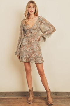 Shoptiques Product: Paisley Floral Plunging Ruffled Mini Dress