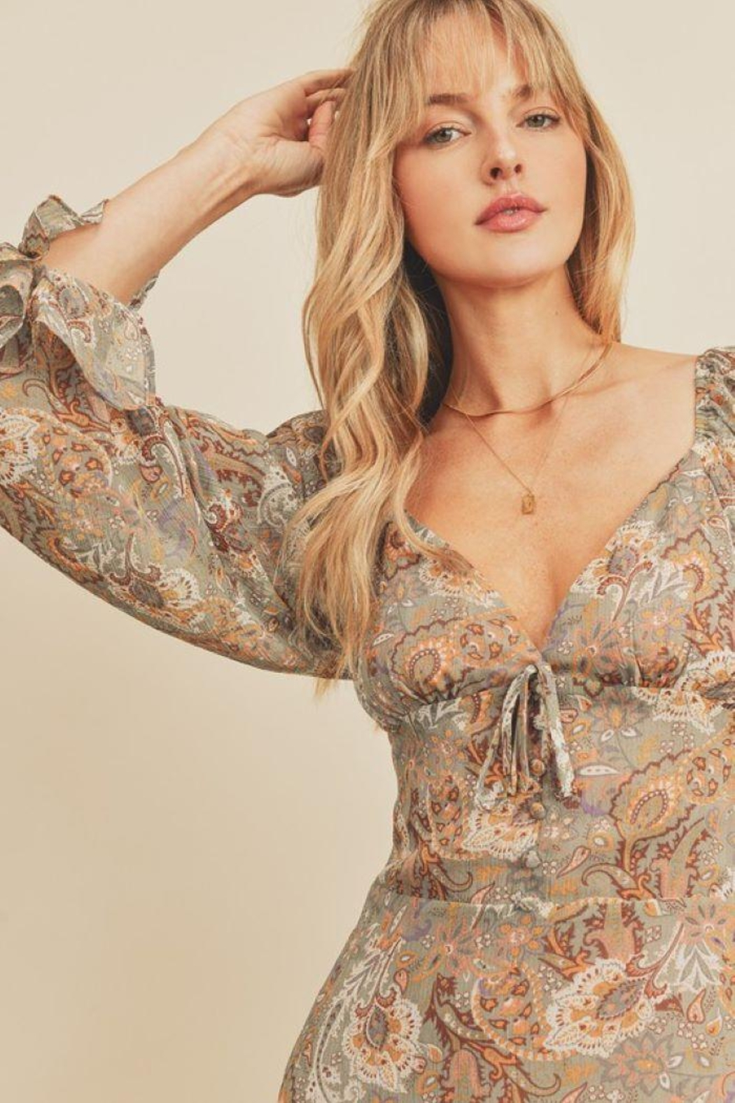 dress forum Paisley Floral Plunging Ruffled Mini Dress - Side Cropped Image