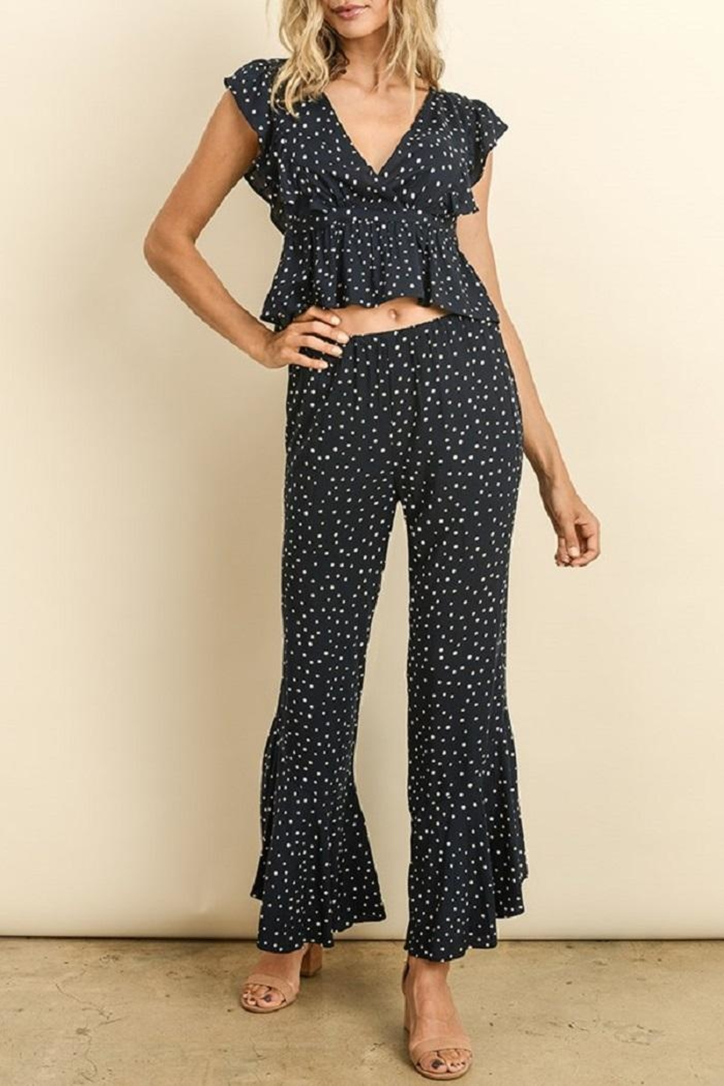 dress forum Polkadot Ruffle Pants - Front Full Image