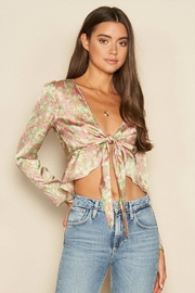dress forum Printed Satin Top - Front cropped