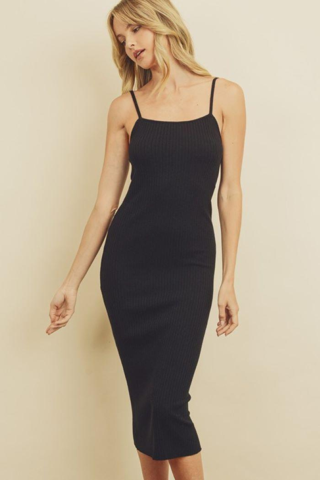 dress forum Ribbed Bodycon Dress - Front Full Image