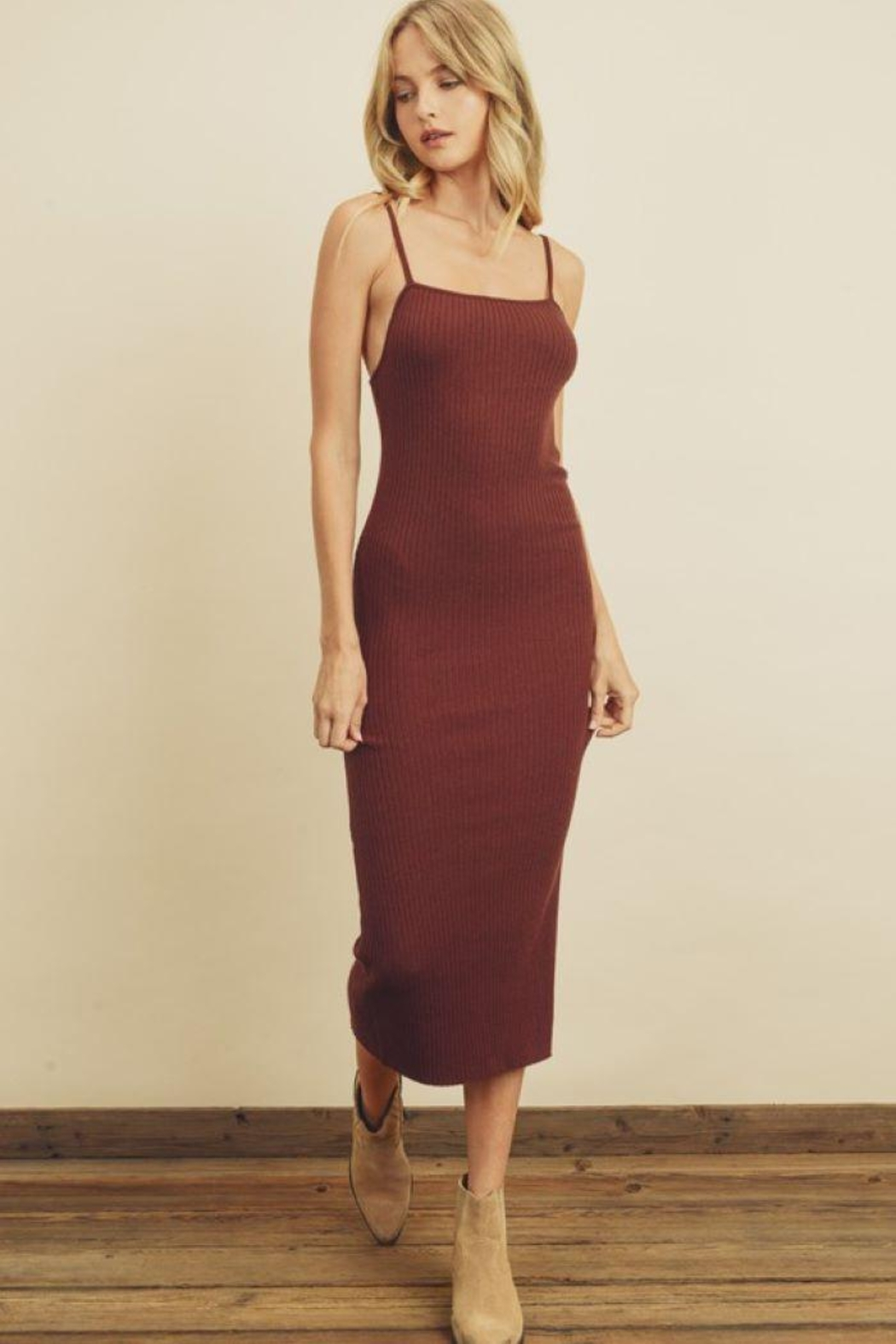 dress forum Ribbed Bodycon Dress - Back Cropped Image