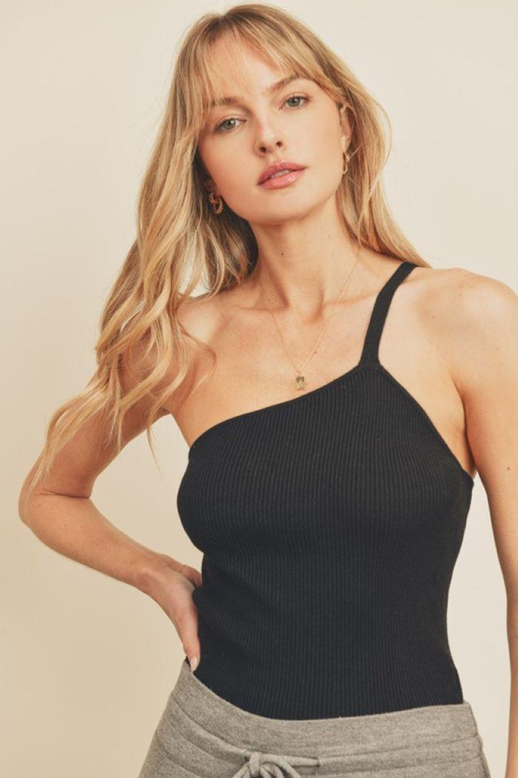 dress forum Ribbed Knit One Shoulder Top - Front Cropped Image