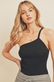 dress forum Ribbed Knit One Shoulder Top - Front cropped