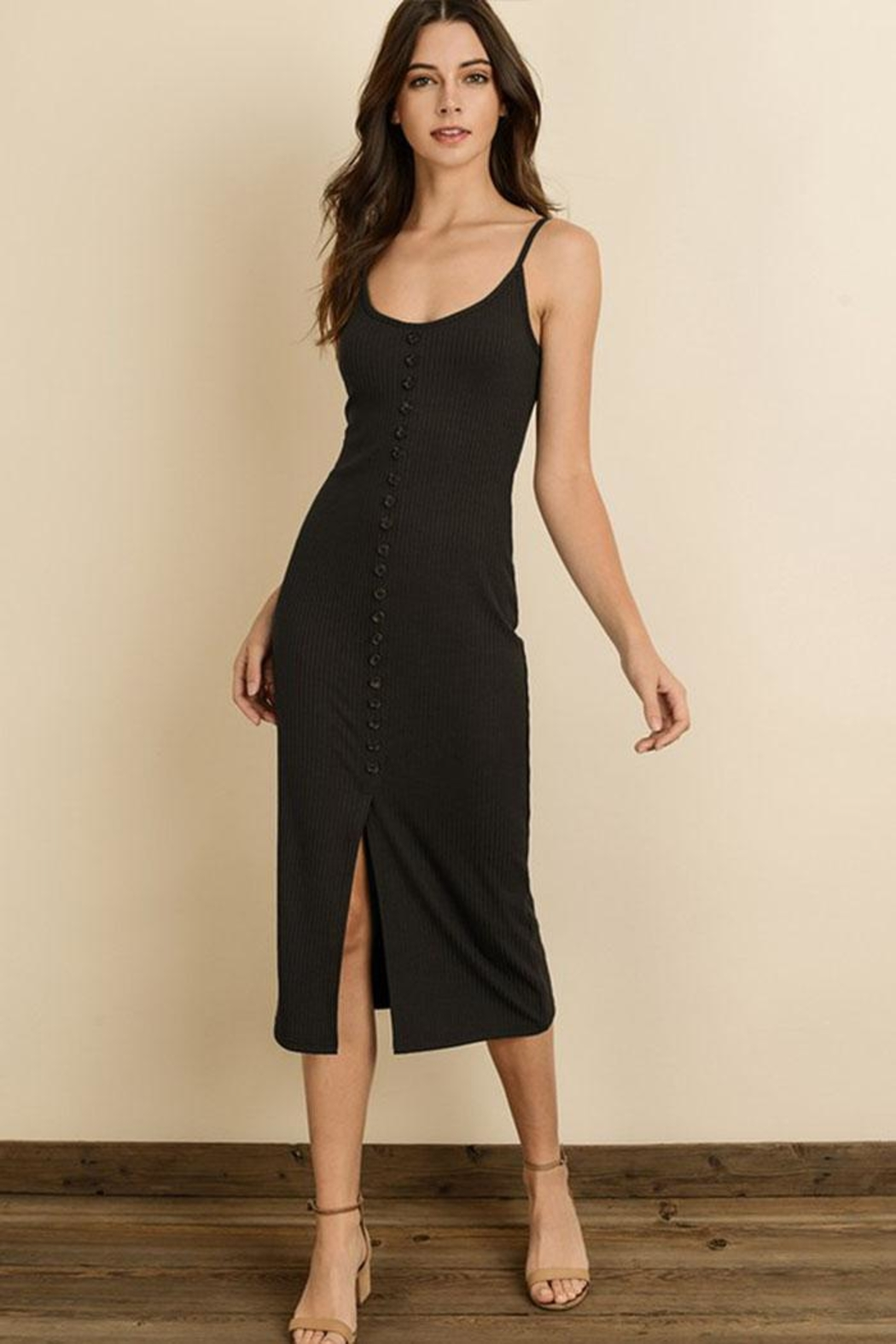 dress forum Ribbed Midi Dress - Front Cropped Image