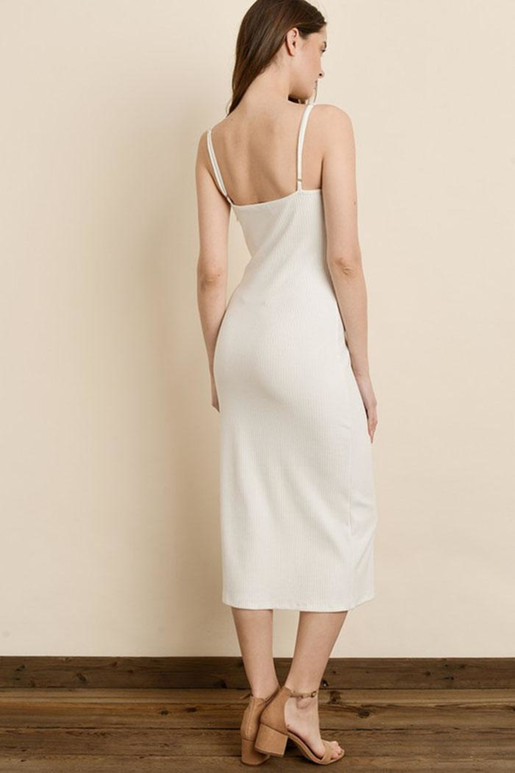 dress forum Ribbed Midi Dress - Front Full Image