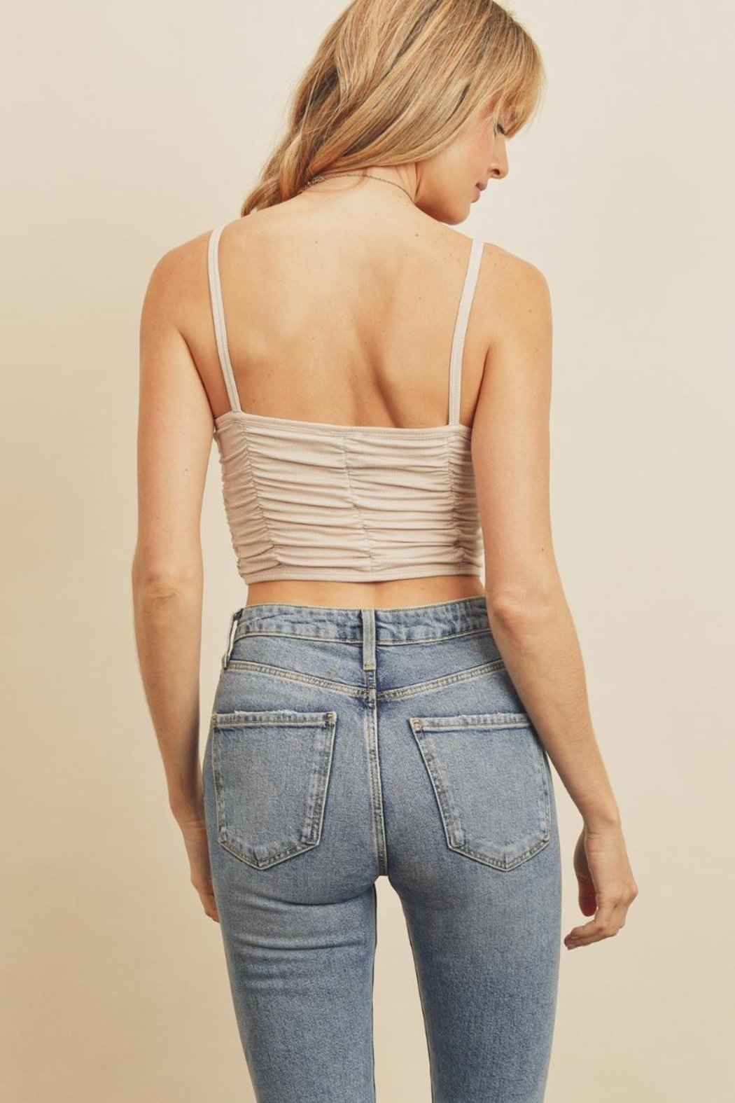 dress forum Ribbed Ruched Crop-Top - Front Full Image