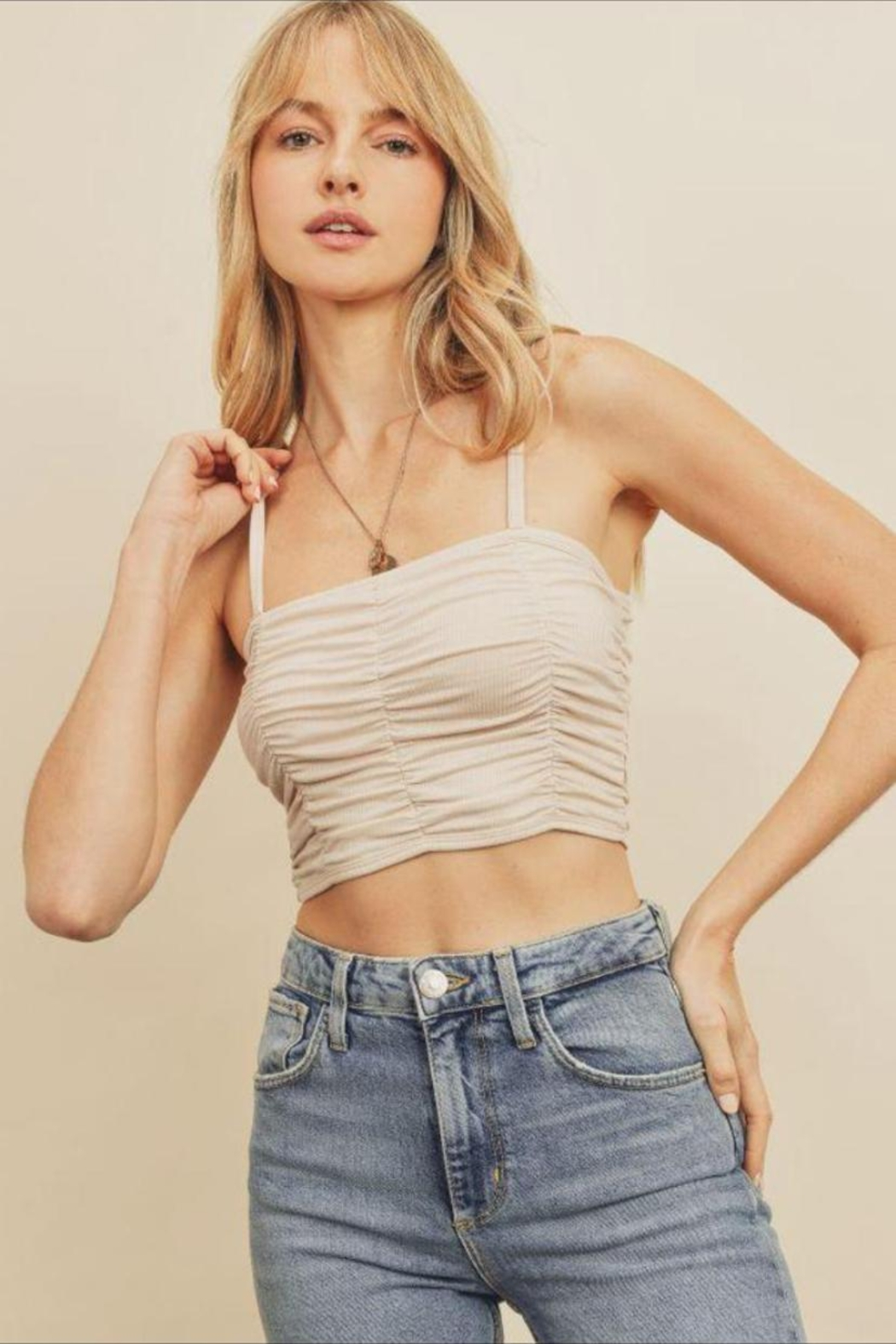 dress forum Ribbed Ruched Crop-Top - Main Image