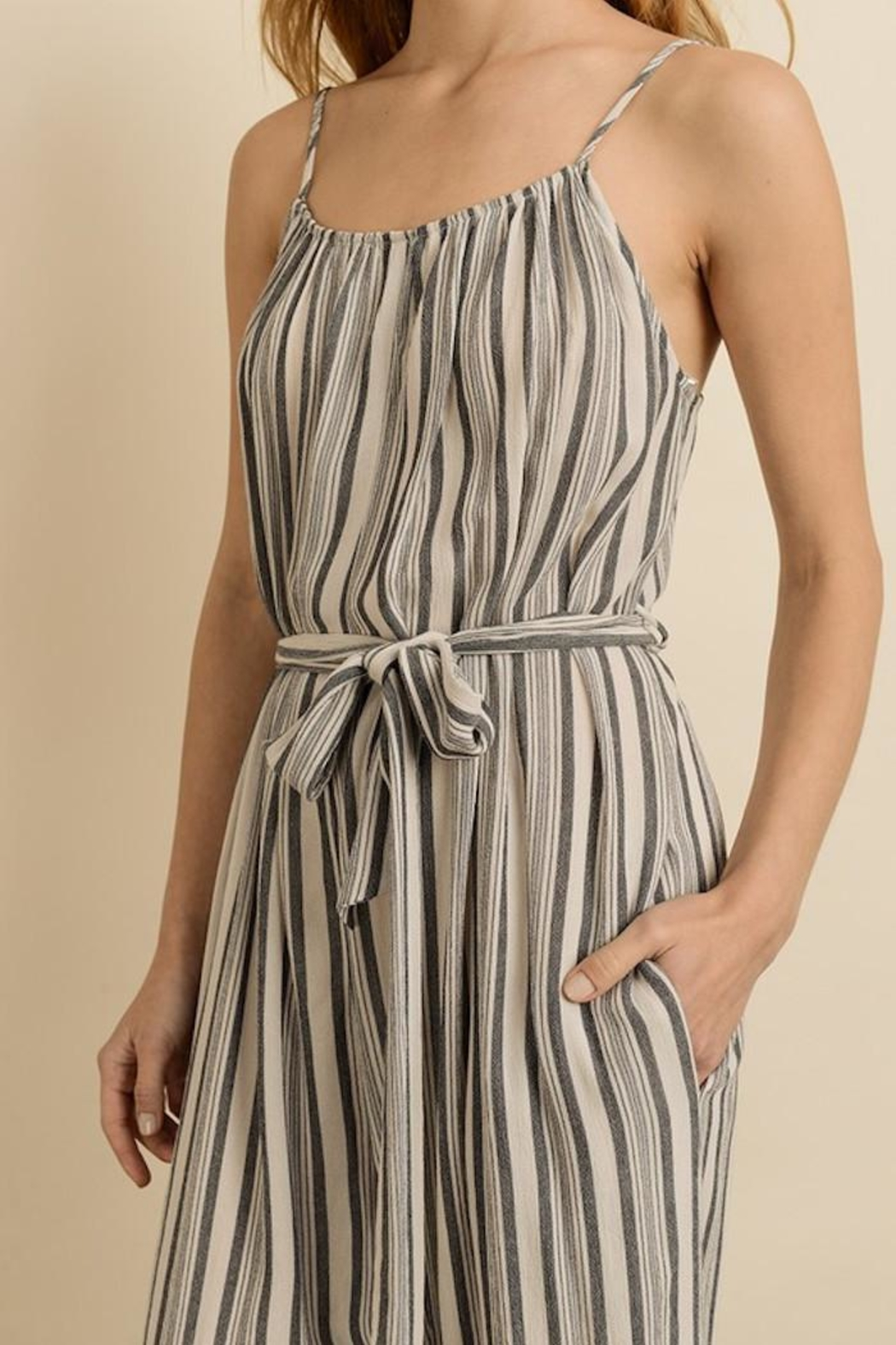 dress forum Sassy Stripes Jumpsuit - Back Cropped Image
