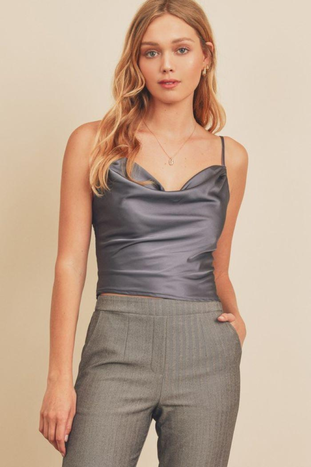 dress forum Satin Cowl Neck Top - Front Cropped Image