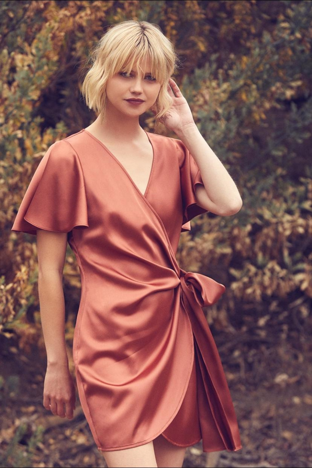 dress forum Satin Tulip Wrap-Dress - Front Cropped Image