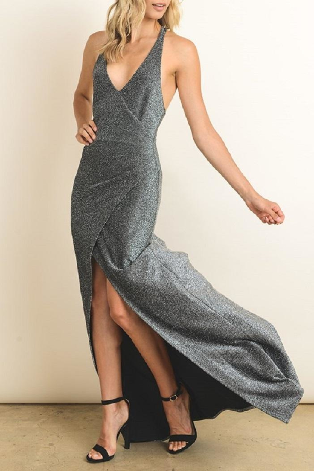 dress forum Silver Metallic Gown - Side Cropped Image