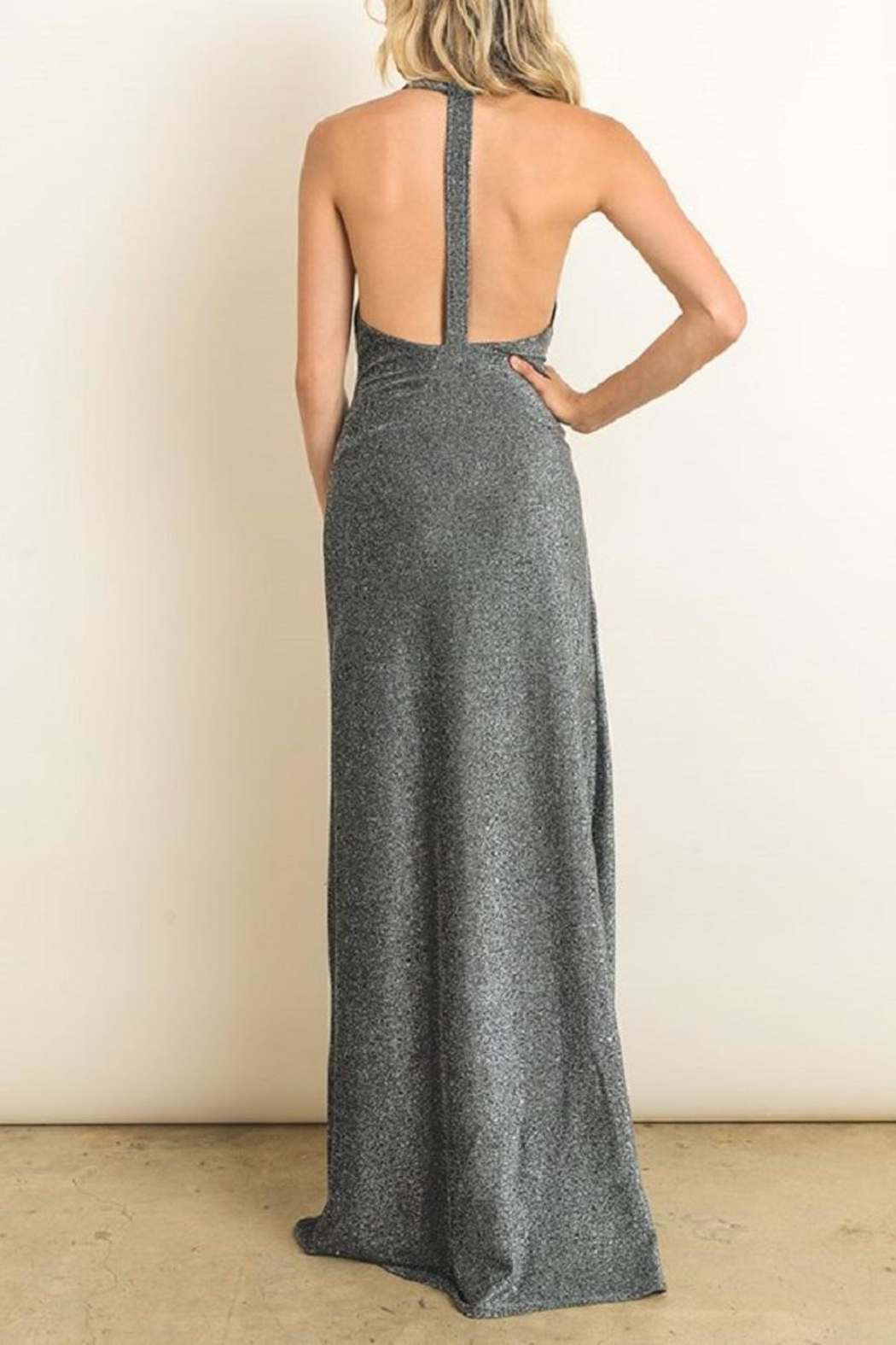 dress forum Silver Metallic Gown - Back Cropped Image