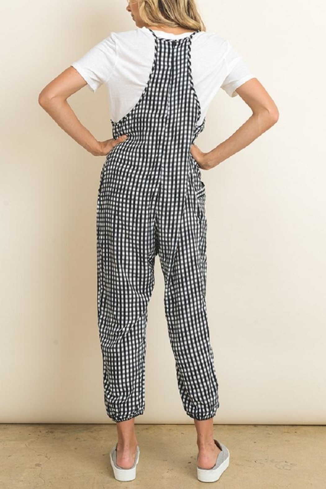 dress forum Sleeveless Gingham Jumper - Back Cropped Image