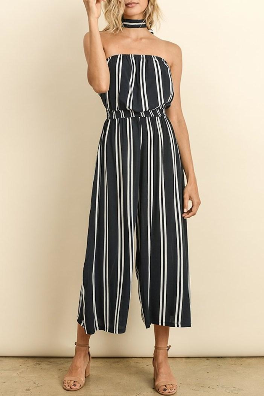 dress forum Striped Culotte Jumpsuit - Front Cropped Image