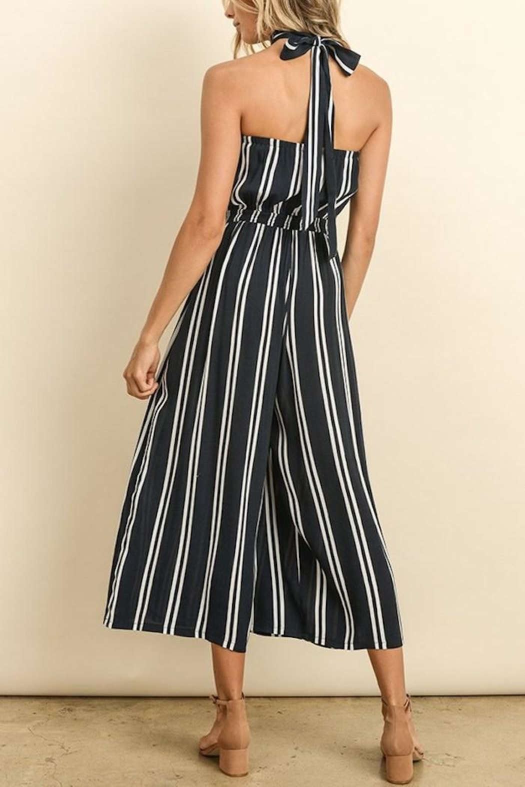 dress forum Striped Culotte Jumpsuit - Front Full Image