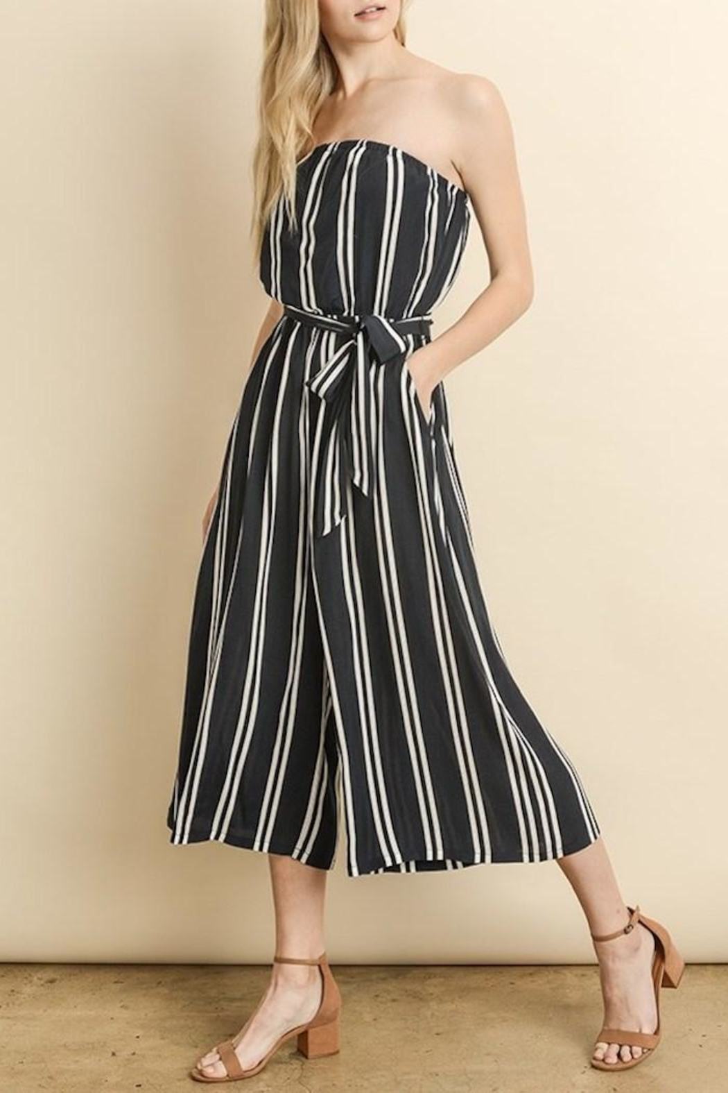 dress forum Striped Culotte Jumpsuit - Back Cropped Image