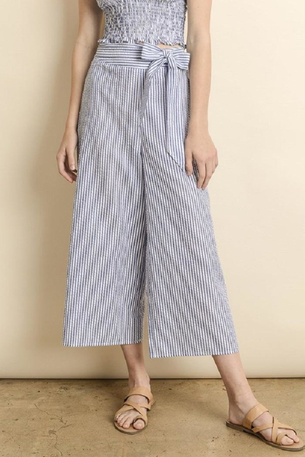 dress forum Striped Culotte Pants - Front Full Image