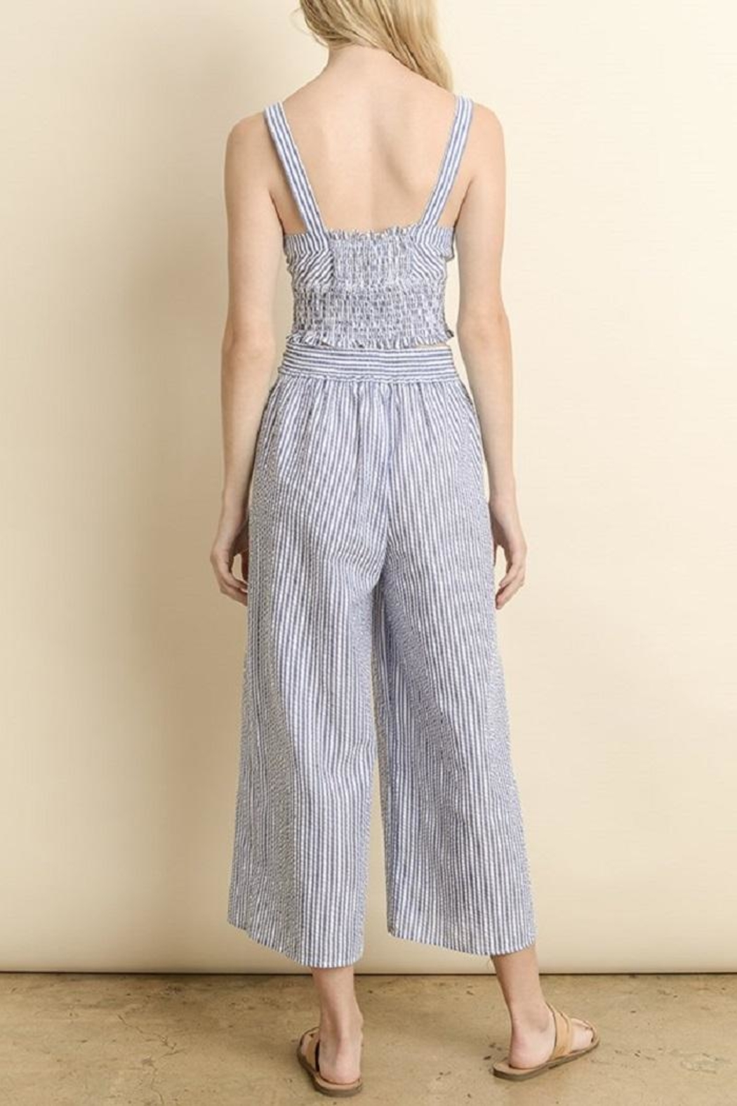 dress forum Striped Culotte Pants - Back Cropped Image