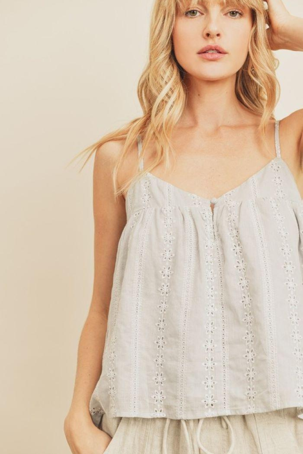 dress forum Striped Eyelet Triangle Cami Top - Main Image