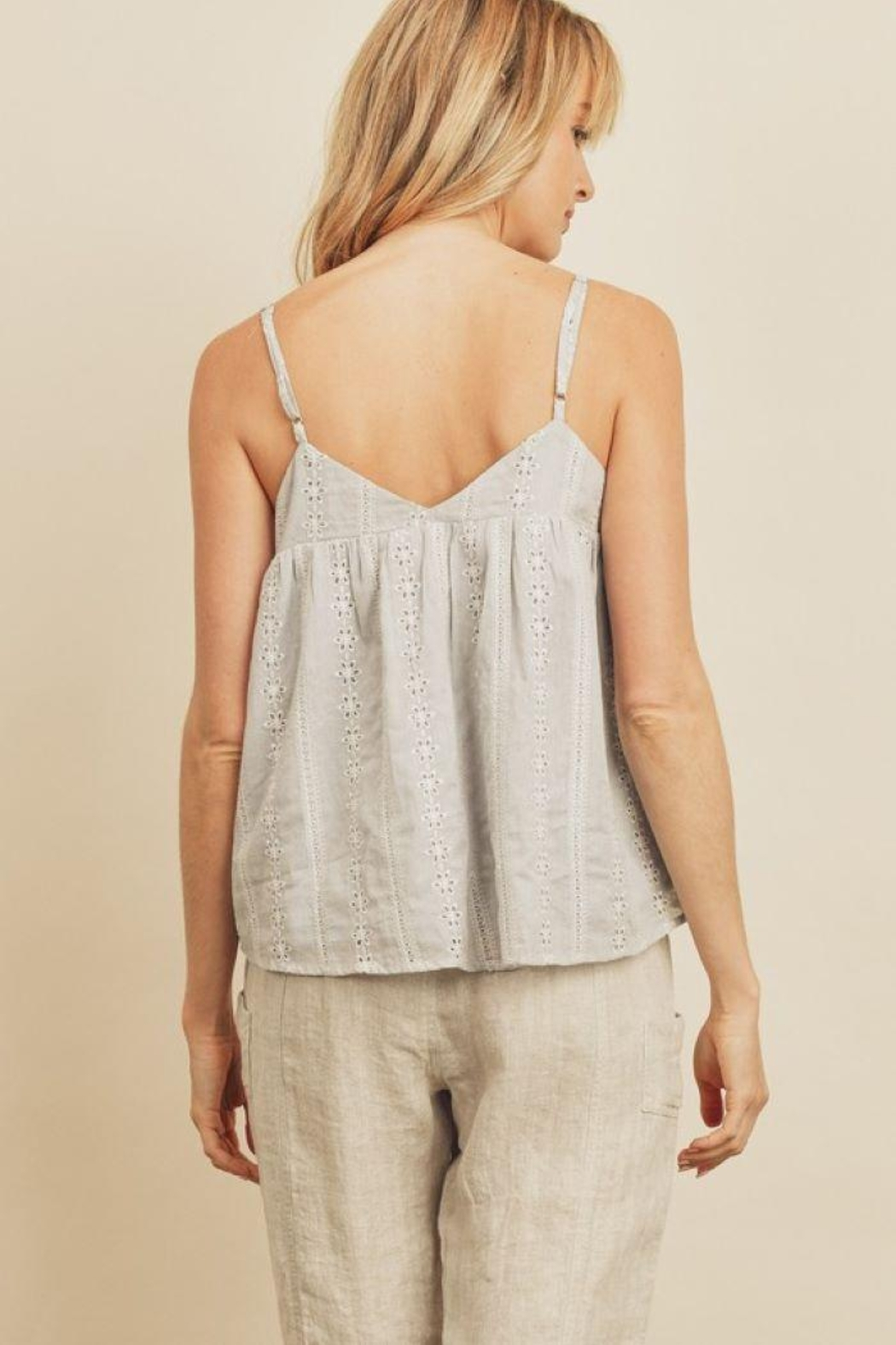 dress forum Striped Eyelet Triangle Cami Top - Side Cropped Image