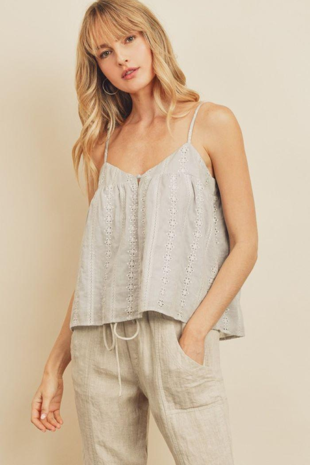 dress forum Striped Eyelet Triangle Cami Top - Back Cropped Image