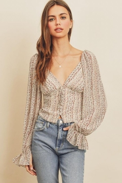 dress forum Striped Floral Top - Product List Image