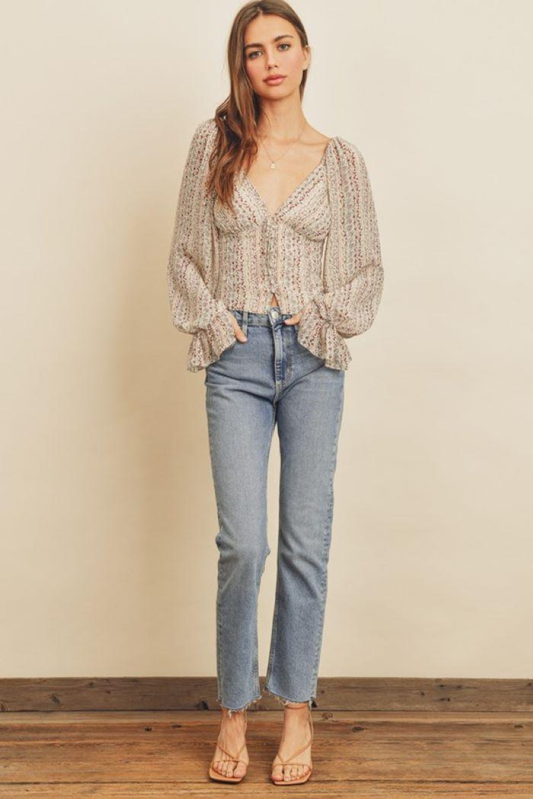 dress forum Striped Floral Plunging Blouse - Front Cropped Image