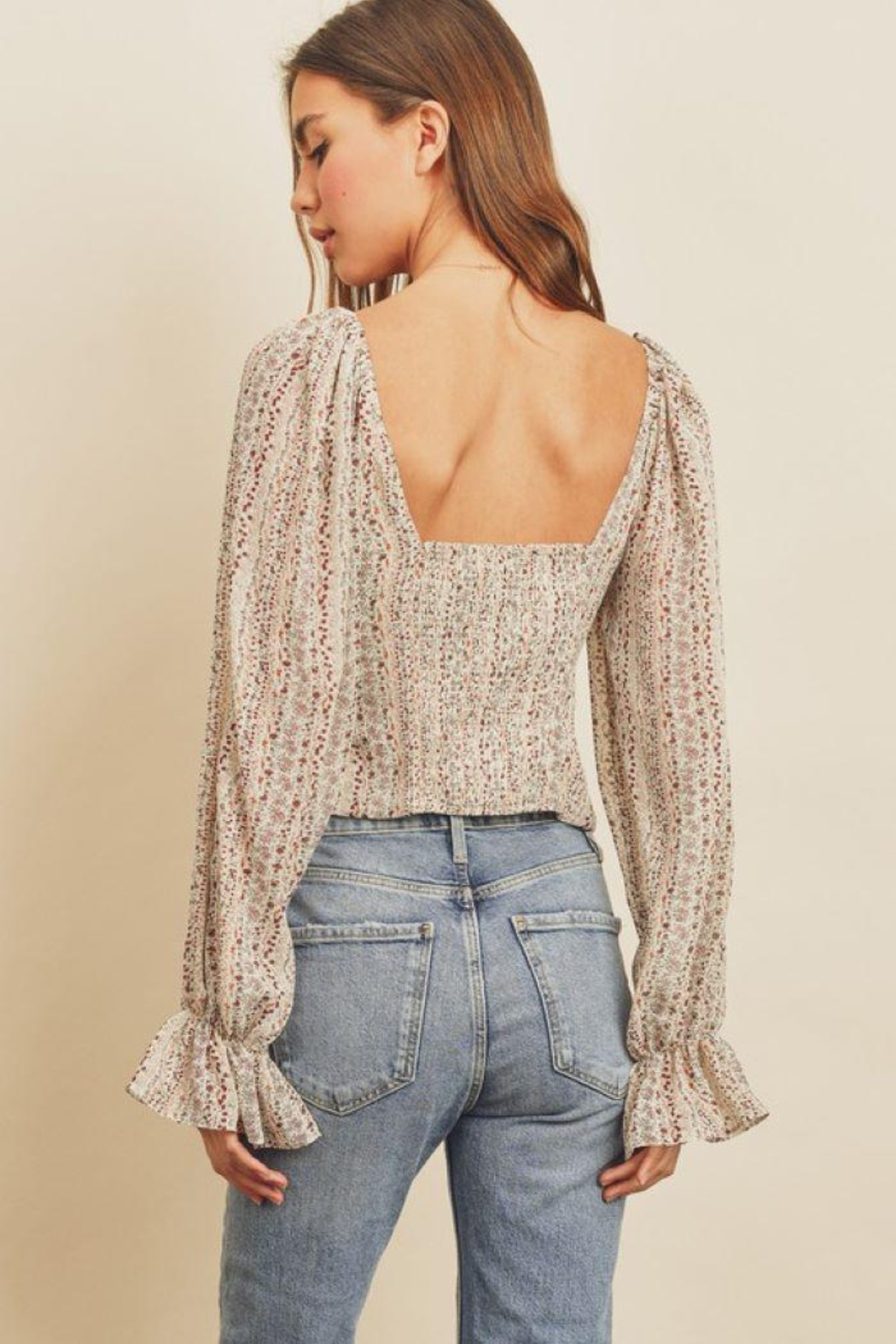 dress forum Striped Floral Plunging Blouse - Side Cropped Image