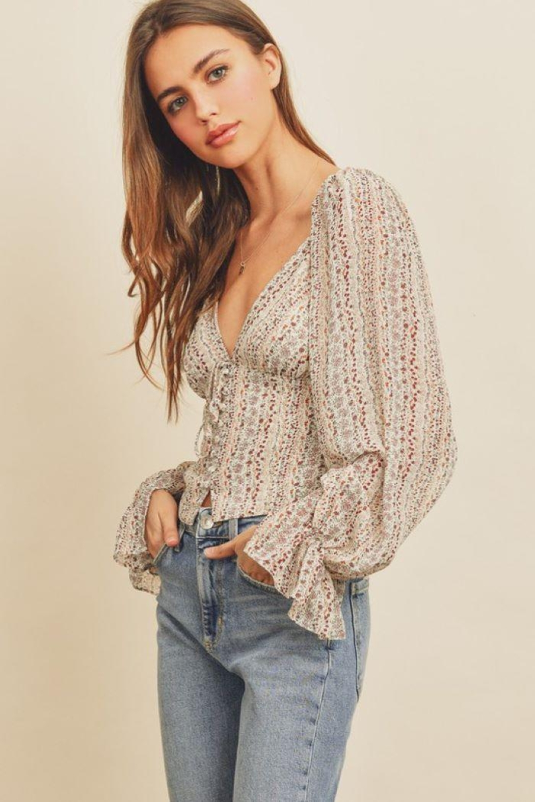 dress forum Striped Floral Plunging Blouse - Main Image