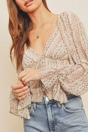 dress forum Striped Floral Plunging Blouse - Other