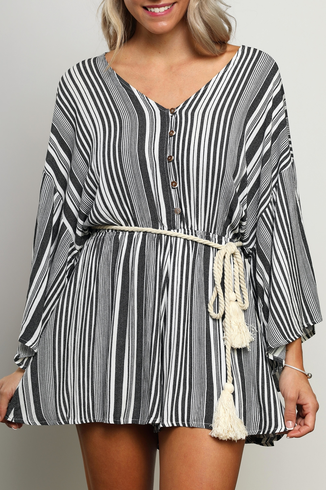 dress forum Striped Kimono-Sleeve Romper - Side Cropped Image