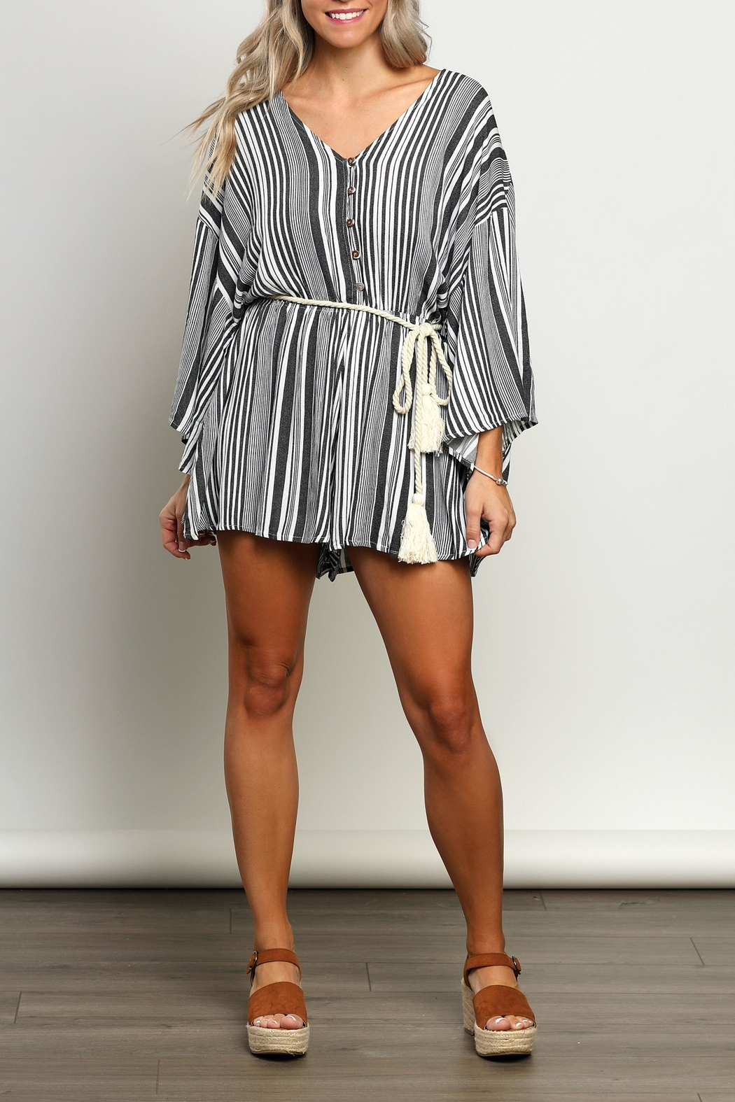 dress forum Striped Kimono-Sleeve Romper - Front Cropped Image