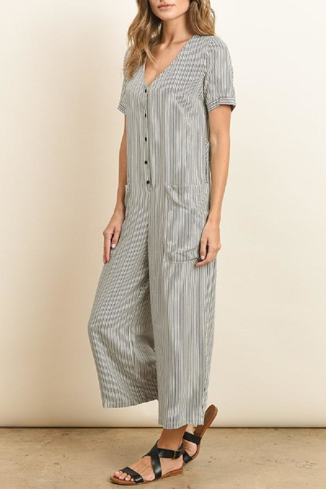 dress forum Button Down Striped Jumpsuit - Front Full Image