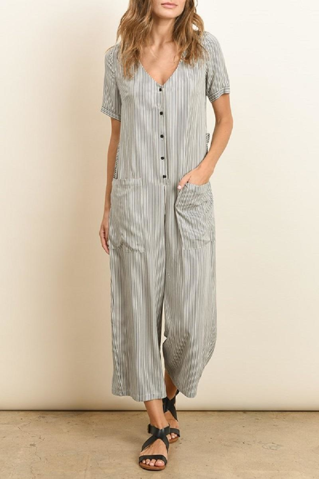 dress forum Button Down Striped Jumpsuit - Front Cropped Image