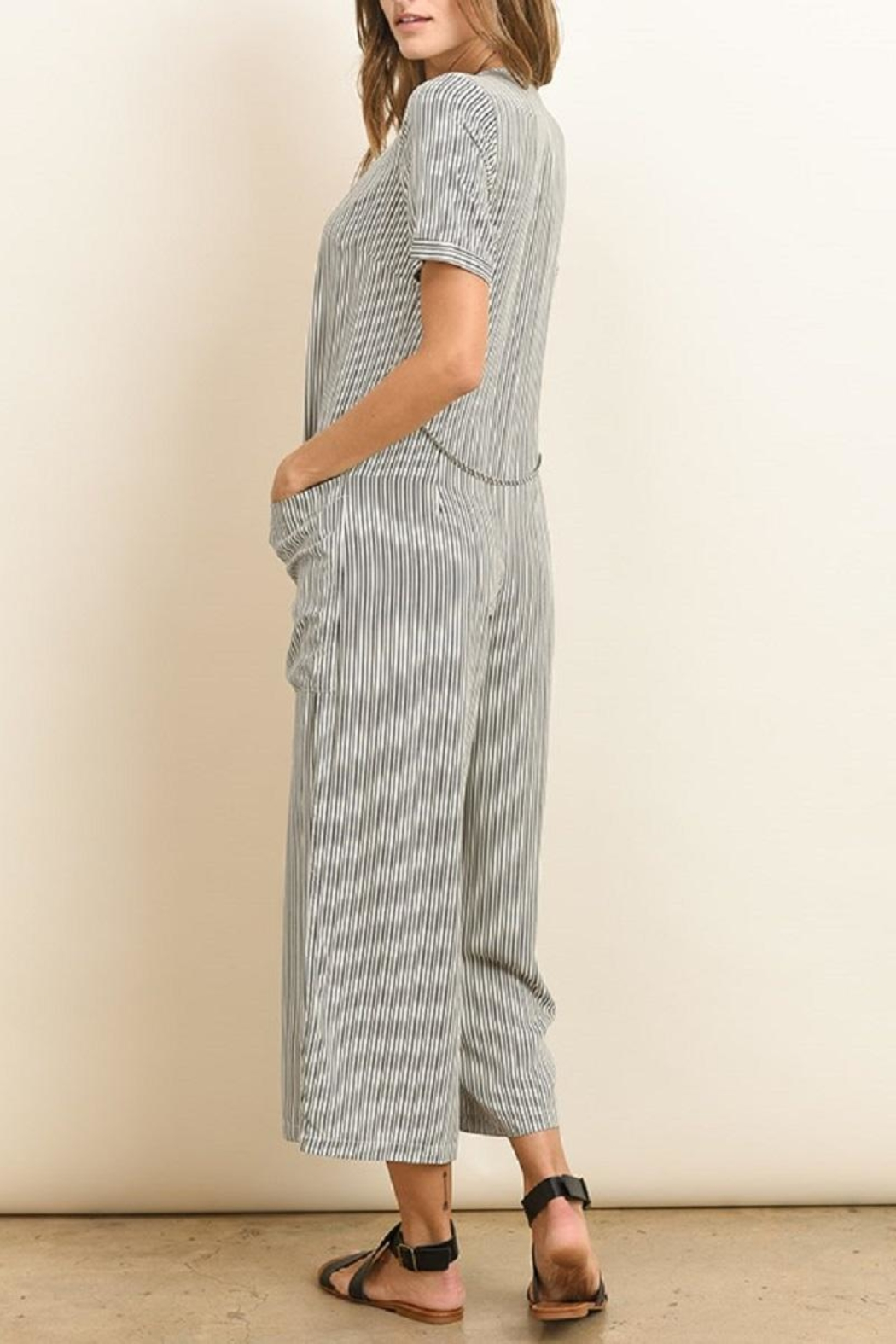 dress forum Button Down Striped Jumpsuit - Side Cropped Image