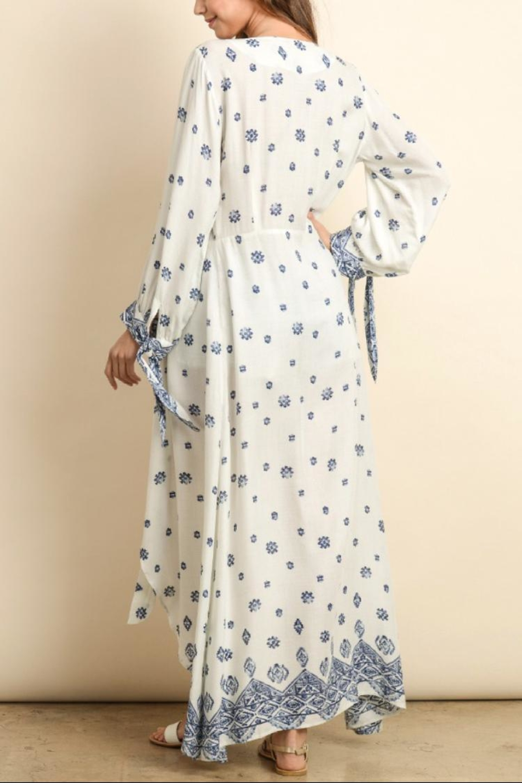 dress forum Tie-Front Maxi Duster - Front Full Image