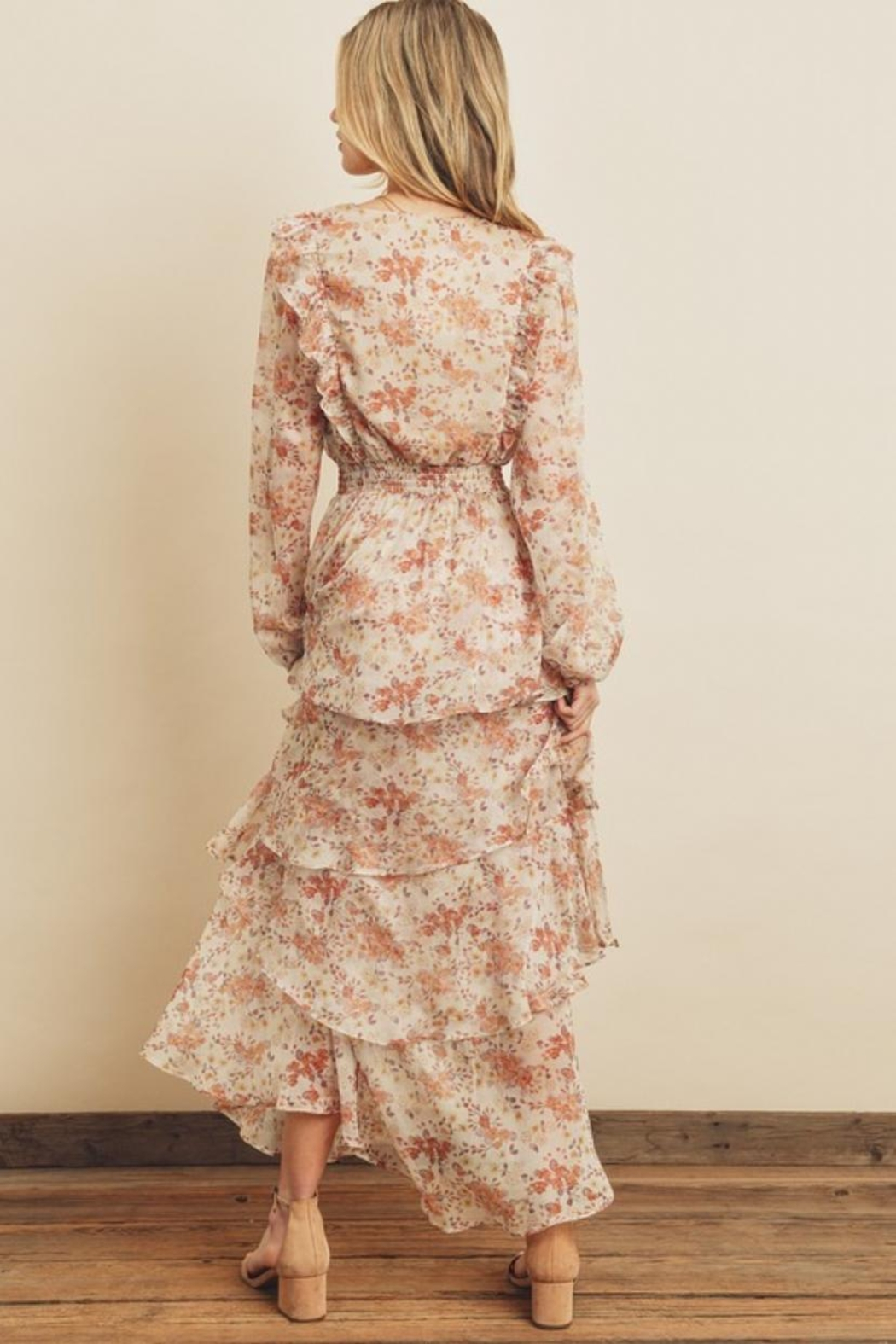 dress forum Tiered Floral Dress - Front Full Image