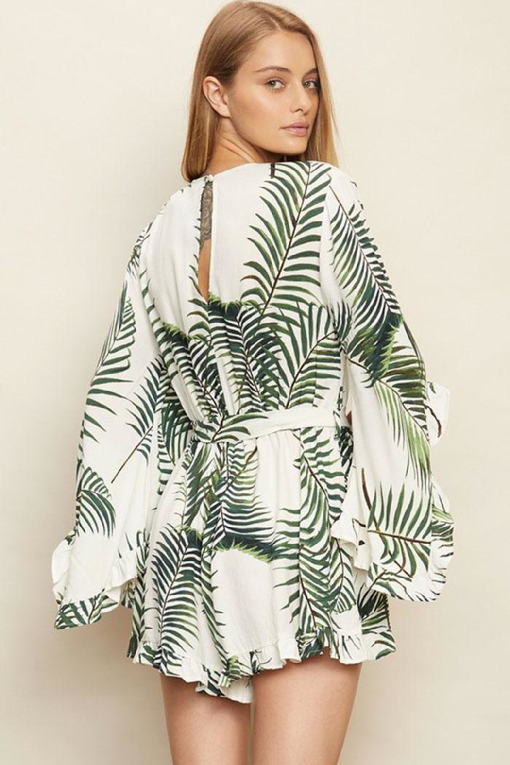 dress forum Tropical Surplice Romper - Front Full Image