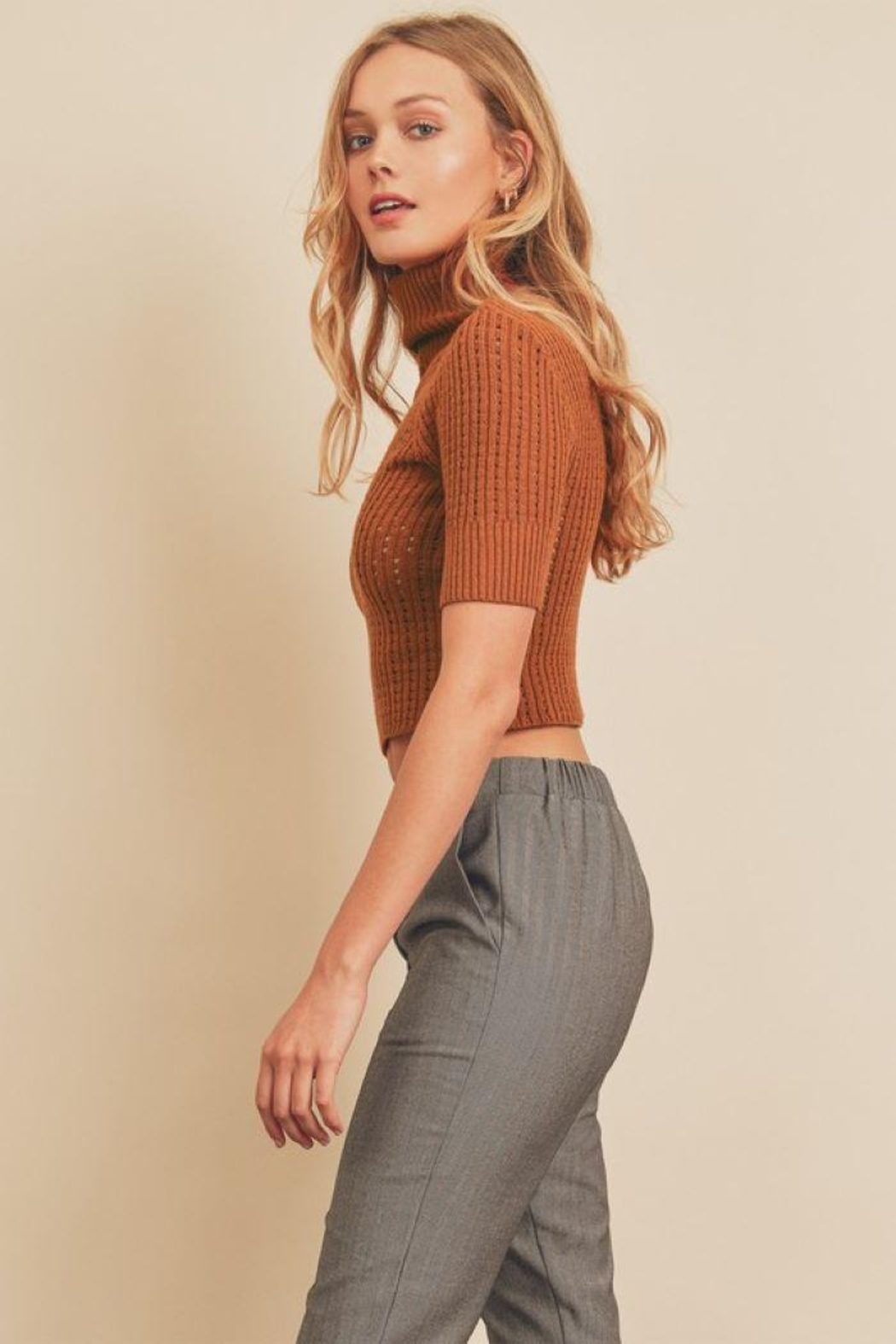 dress forum Turtle Neck Open Stitch Knit Top - Side Cropped Image