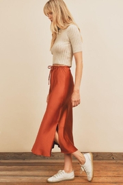 dress forum Turtle Neck Open Stitch Knit Top - Front full body
