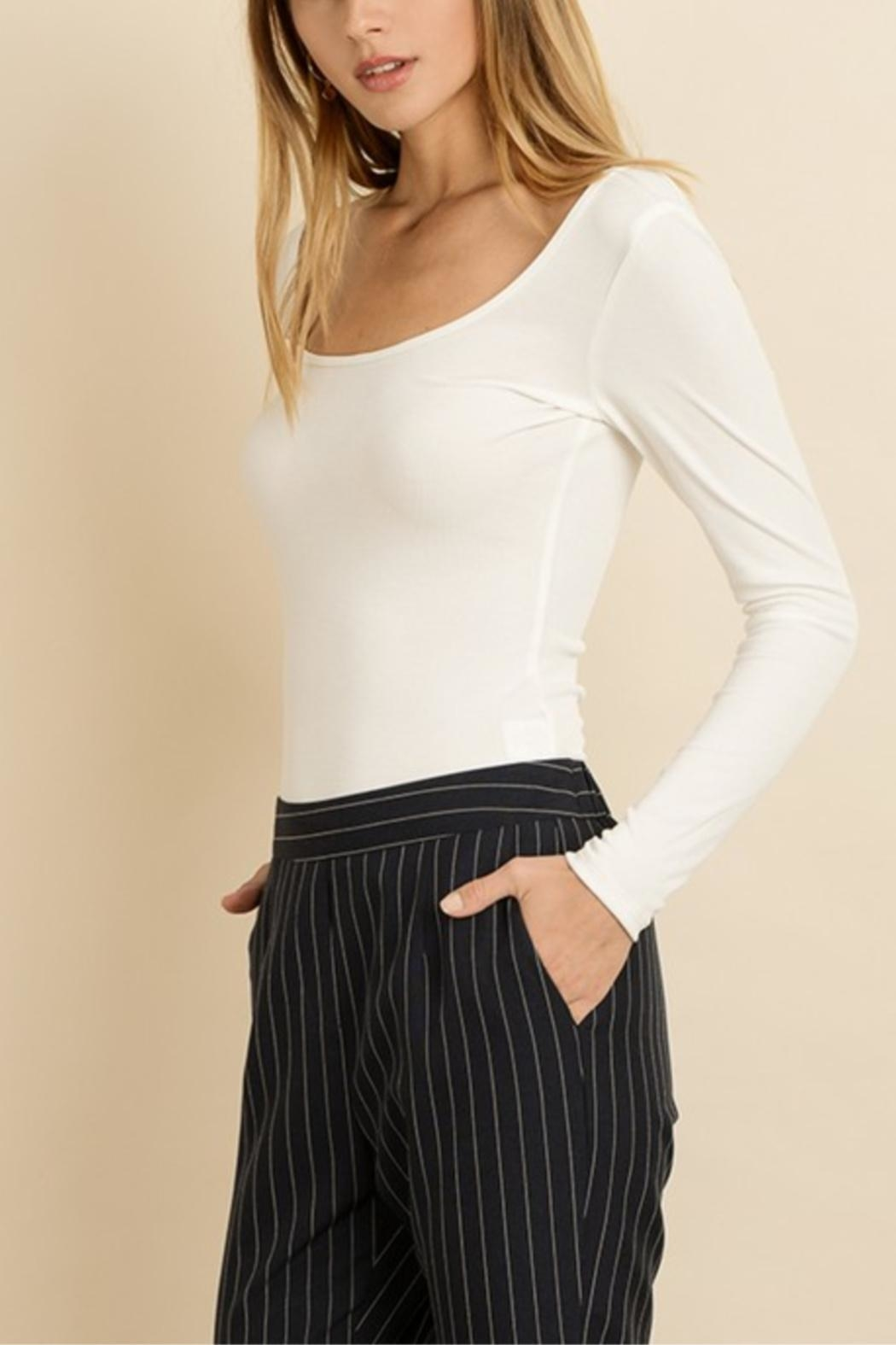 dress forum White Ribbed Bodysuit - Side Cropped Image