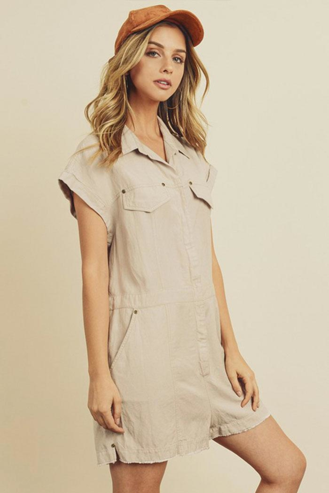 dress forum Zip-Up Utility Romper - Side Cropped Image
